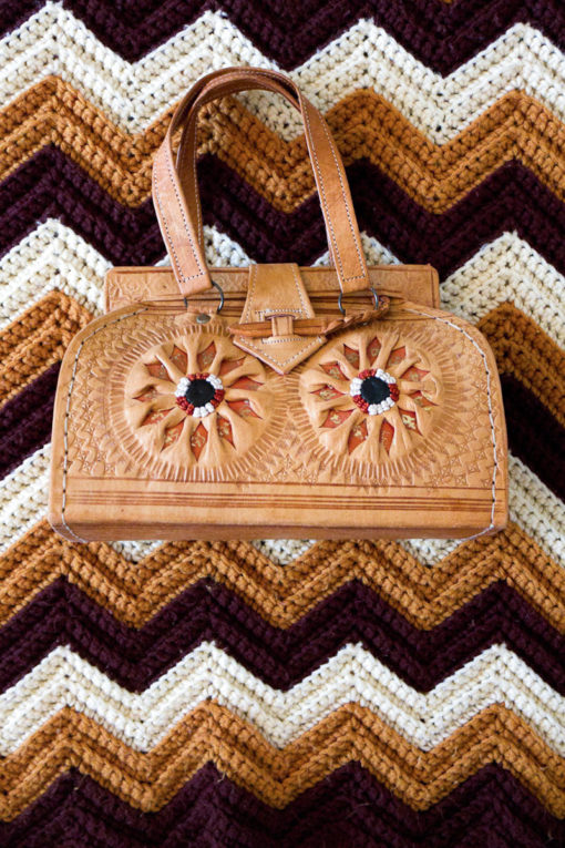 1970s Embroidered Tooled Handbag