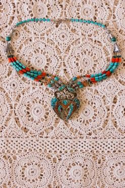 1970s Turquoise & Coral Beaded Necklace