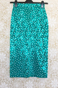 1980s Polka Dot Floral Skirt