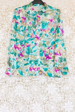 1980s Floral Tropical Blouse