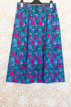 1990s Floral Pleated Skirt