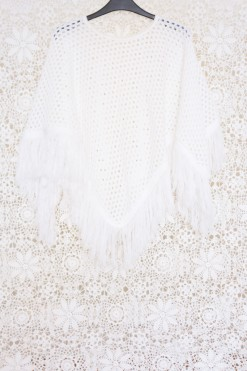 70s Fringed Crochet Cape