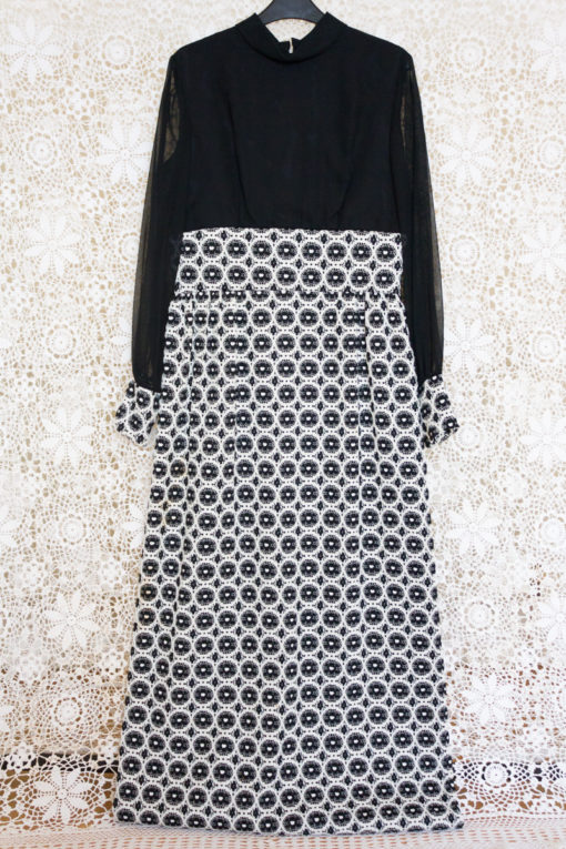 60s Monochrome Crochet Maxi Dress