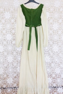 70s Courdoroy Cheesecloth Maxi Dress