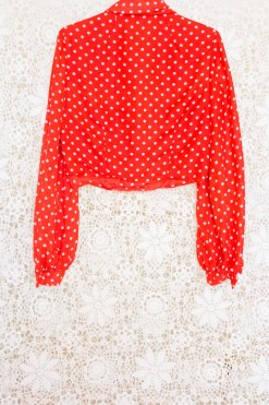 70s Polka Dot Statement Blouse