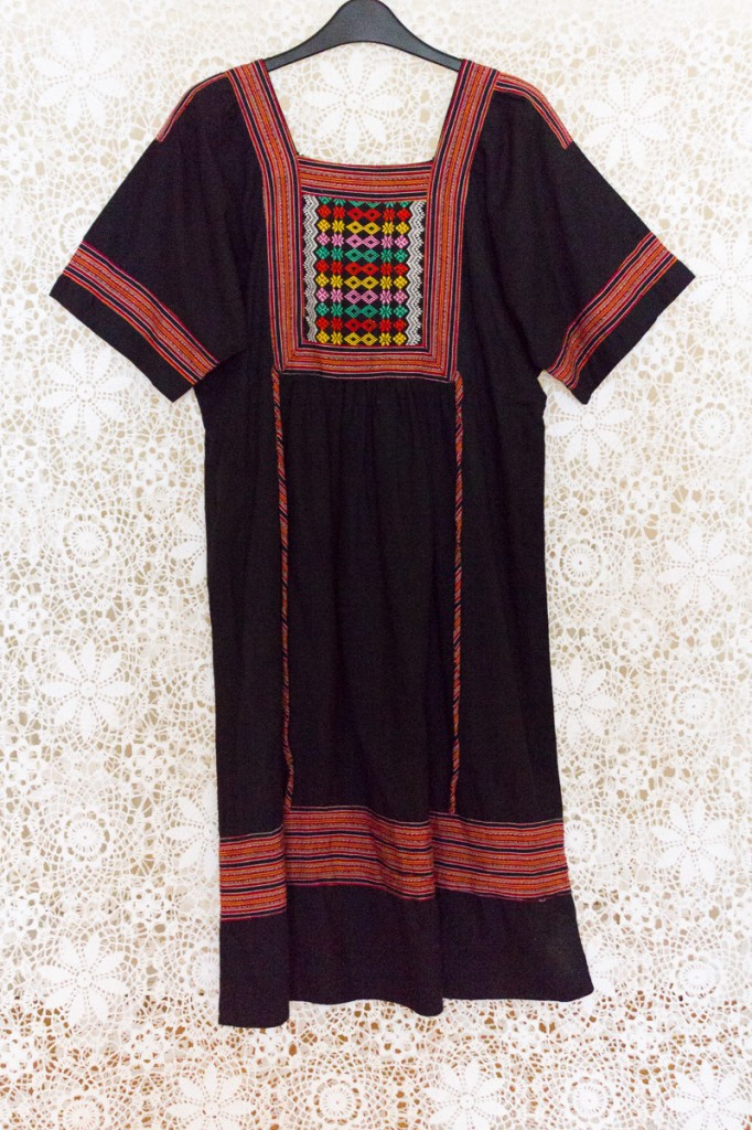70s Guatemalan Contrast Dress