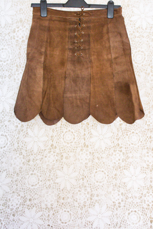 70s Scallop Suede Skirt