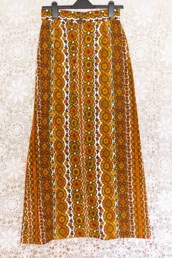 70s Striped Floral Maxi Skirt