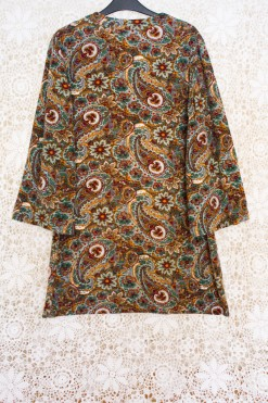 70s Velour Paisley Dress