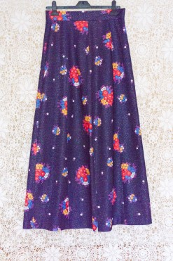 70s Metallic Floral Maxi Skirt