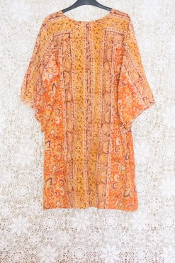 70s Block Print Kaftan Dress