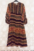 70s Floral Striped Indian Dress