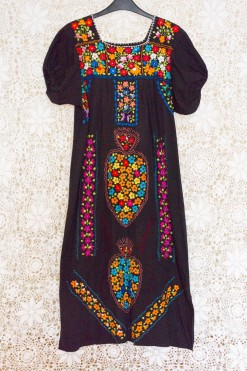 70s Mexican Embroidered Maxi Dress