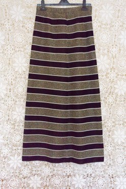 70s Metallic Striped Maxi Skirt