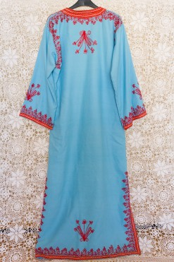 70s Contrasting Embroidered Kaftan Dress