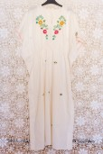 70s Floral Embroidered Kaftan Dress