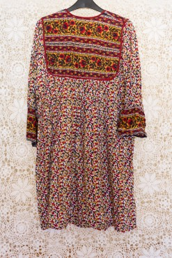 70s Floral Indian Block Print Dress