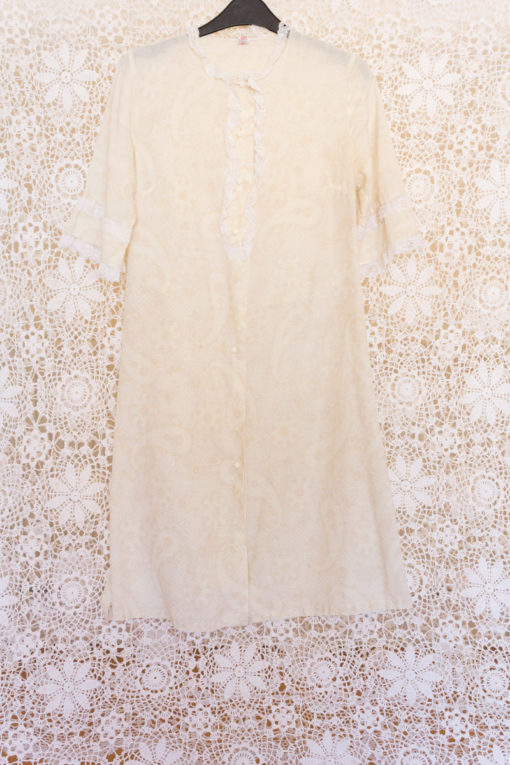 70s Lace Collar Paisley Dress