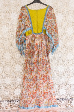 70s Indian Angel Sleeve Maxi Dress