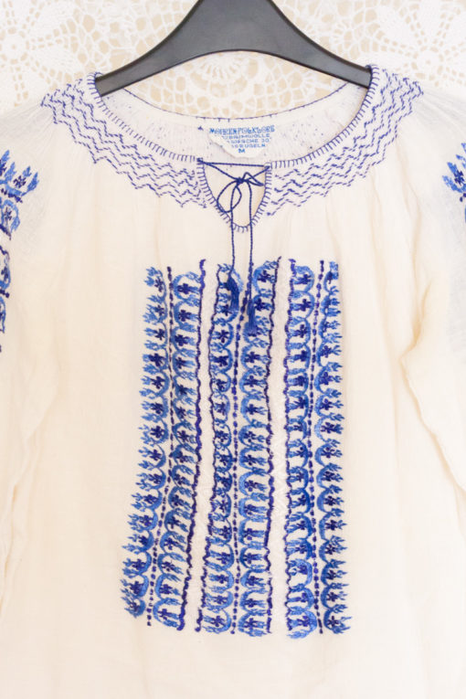 70s Sheer Embroidered Blouse