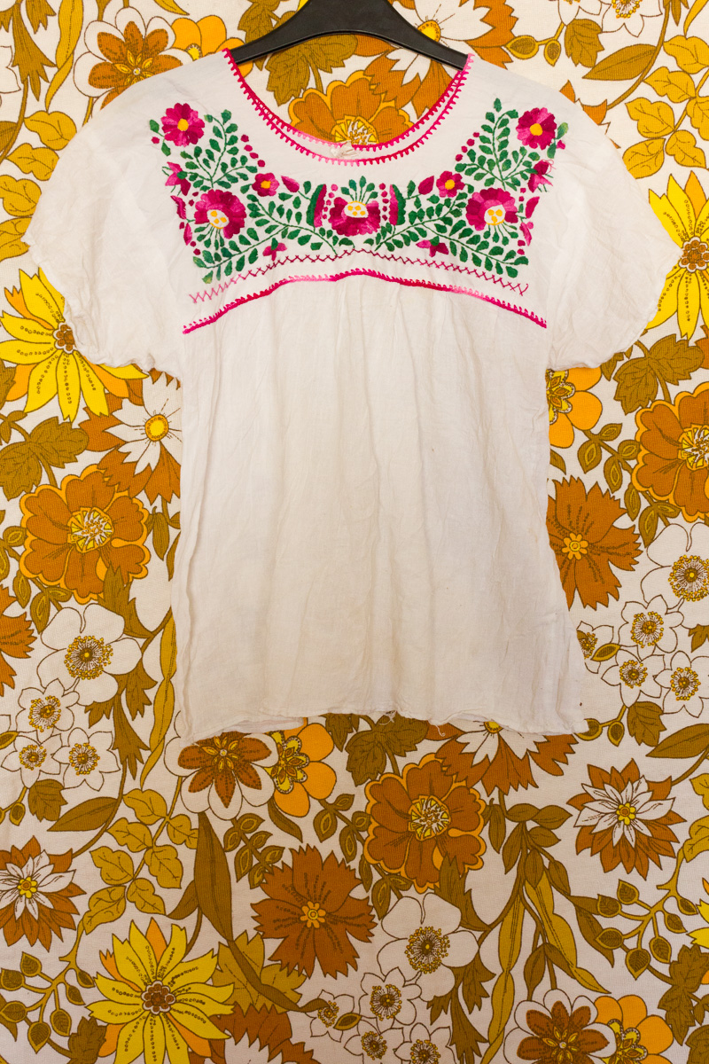 70s Floral Embroidered Mexican Blouse
