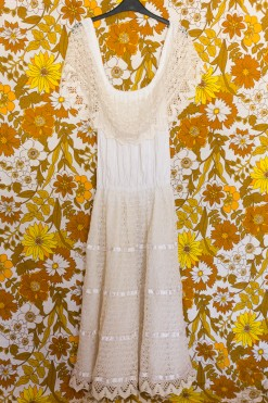 70s Lace Ruffle Midi Dress