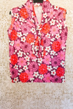 60s Floral Scarf Tie Blouse