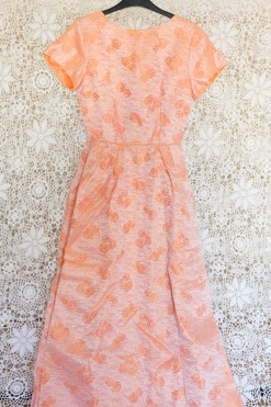60s Rose Brocade Maxi Dress
