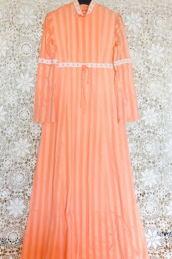 70s Striped Prairie Dress