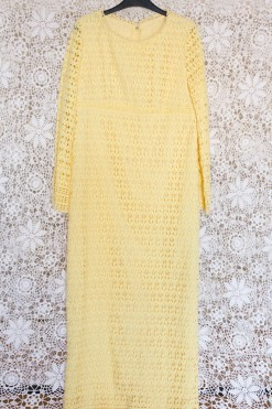 60s Yellow Lace Maxi Dress