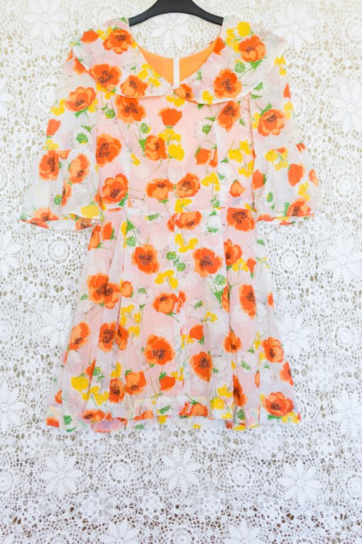 60s Poppy Collared Dress