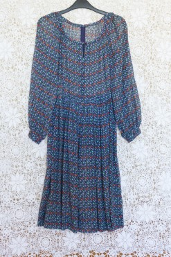 70s Ditsy Print Midi Dress
