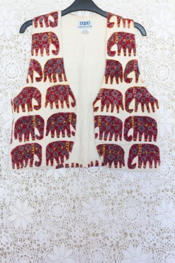 90s Embroidered Elephant Waistcoat