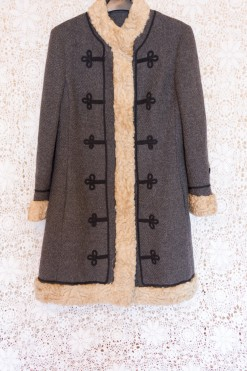 60s Fur Contrast Coat