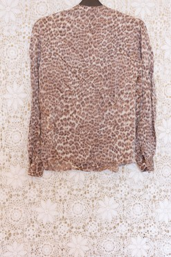 90s Leopard Pussybow Blouse