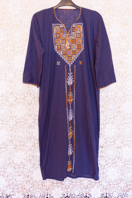 90s Navy Embroidered Dress